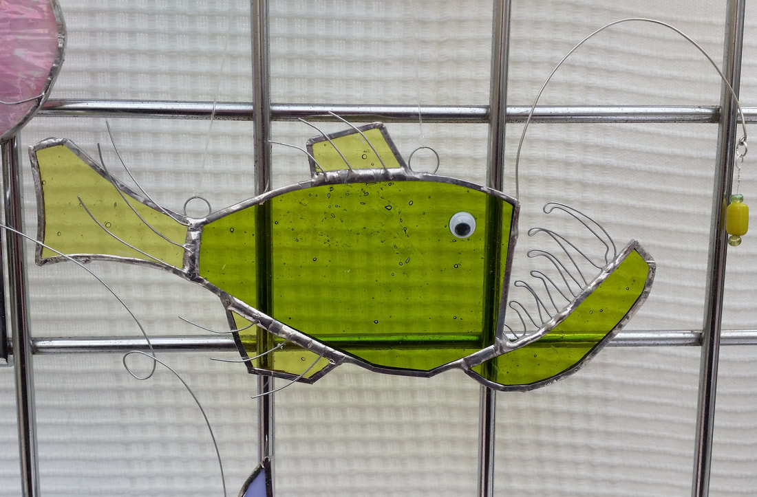 Stained glass angler fish