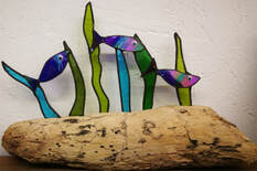 Driftwood & stained glass fishy friends