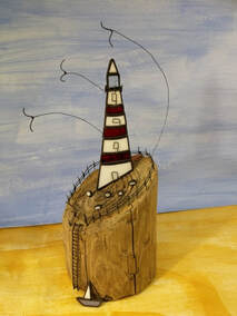 Driftwood & stained glass lighthouse