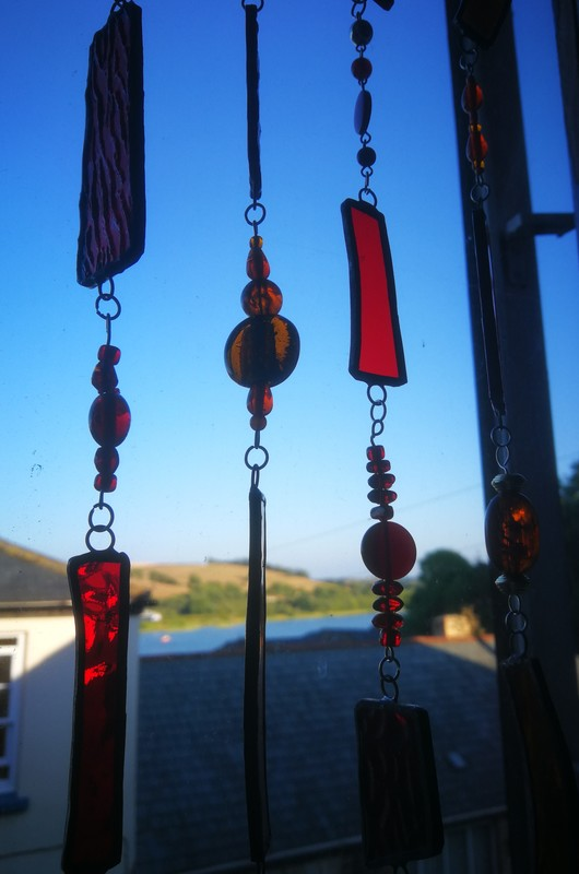 Red & orange glass mobile