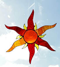 Fiery stained glass sun