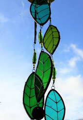 Stained glass leaf mobile