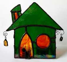 stained glass spooky house tealight holder